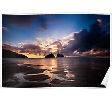 Holywell Bay Sunset Poster