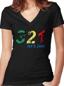 321...let's jam Women's Fitted V-Neck T-Shirt