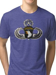 101st Airborne Division patch on sliver jumpwings. Tri-blend T-Shirt