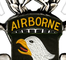 101st Airborne Division patch on sliver jumpwings. Sticker