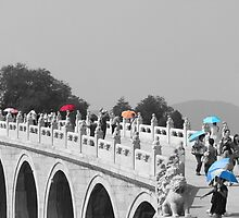 Umbrellas in Beijing 17 arch bridge by SteveHphotos