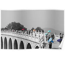 Umbrellas in Beijing 17 arch bridge Poster