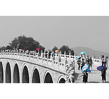 Umbrellas in Beijing 17 arch bridge Photographic Print