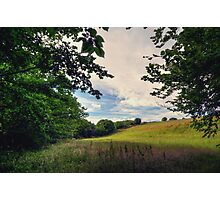 Framed View Across the Fields from Groudle Glen Photographic Print