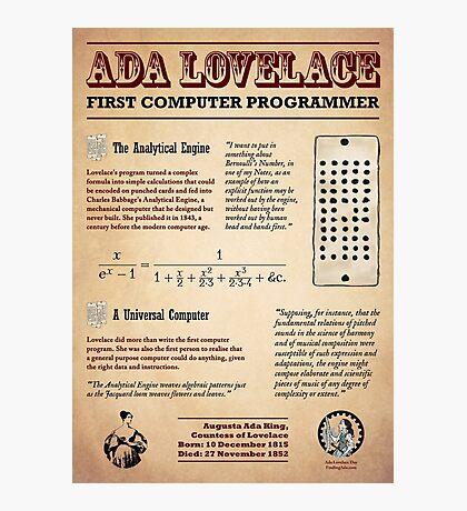 Ada Lovelace: First Computer Programmer Photographic Print