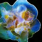 Kathie McCurdy Big Blue Abstract Flower by Kathie McCurdy