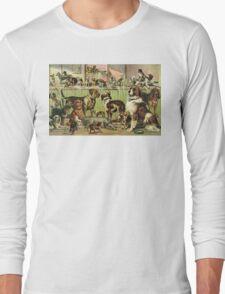 Vintage Dog Kennel Illustration Long Sleeve T-Shirt