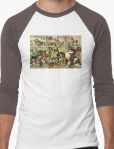 Vintage Dog Kennel Illustration Men's Baseball ¾ T-Shirt