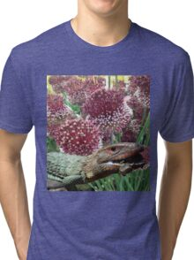 caiman lizard with flowers Tri-blend T-Shirt