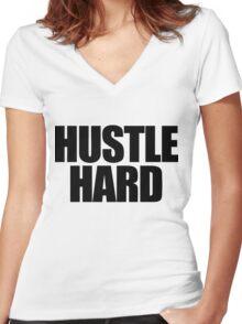 Hustle Hard Women's Fitted V-Neck T-Shirt
