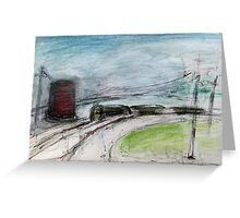Train and Water Tower  Greeting Card