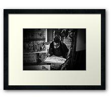 Travel BW - Paris Painter in Montmartre Framed Print