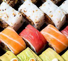 Assortment of Sushi Maki, futo maki, and Insideout by PhotoStock-Isra