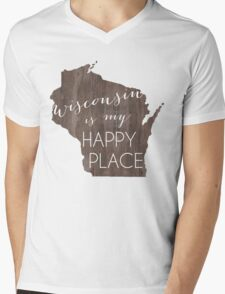 Wisconsin is my Happy Place Mens V-Neck T-Shirt