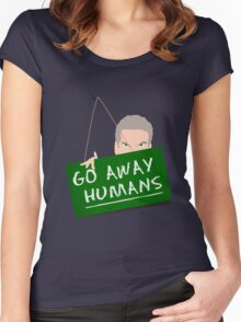 Go Away Humans Sign Women's Fitted Scoop T-Shirt