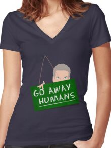 Go Away Humans Sign Women's Fitted V-Neck T-Shirt