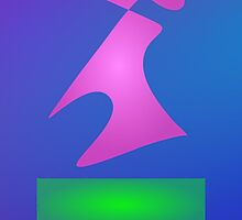 Pink and Green Shapes on Blue Background by masabo