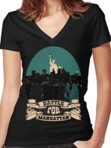 battle for manhattan Women's Fitted V-Neck T-Shirt