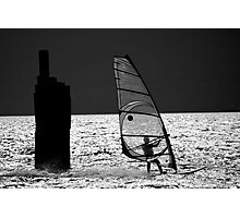 Windsurfing - B&W Photographic Print