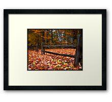 Cedar Log Fence on a Carpet of Autumn Leaves Framed Print