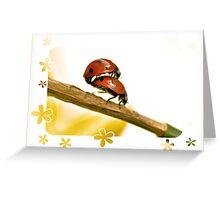 Ladybirds in a Spring Garden Greeting Card