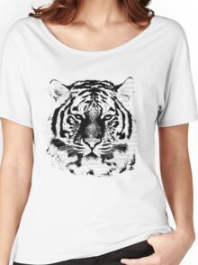 Black and White Tiger Face  Women's Relaxed Fit T-Shirt