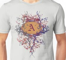 Retro Damask Pattern with Monogram Letter A Unisex T-Shirt