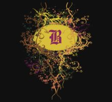 Retro Damask Pattern with Monogram Letter B by Nhan Ngo