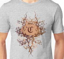 Retro Damask Pattern with Monogram Letter C Unisex T-Shirt