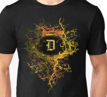 Retro Damask Pattern with Monogram Letter D Unisex T-Shirt