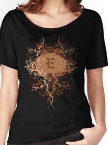 Retro Damask Pattern with Monogram Letter E Women's Relaxed Fit T-Shirt