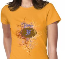Retro Damask Pattern with Monogram Letter F Womens Fitted T-Shirt