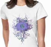 Retro Damask Pattern with Monogram Letter G Womens Fitted T-Shirt