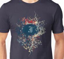 Retro Damask Pattern with Monogram Letter J Unisex T-Shirt