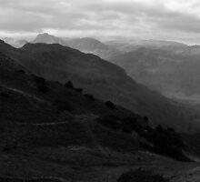 Langdale Pikes from Lingmoor fell - Mono Layered Landscape by rennaisance