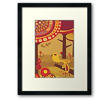 Retro Bird with Trees Framed Print