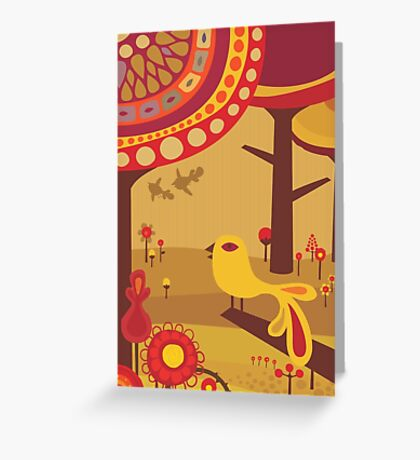 Retro Bird with Trees Greeting Card