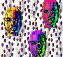 """""""Female Wireframe Heads""""© by Lisa Clark for Thinker Collection - STEM Art"""