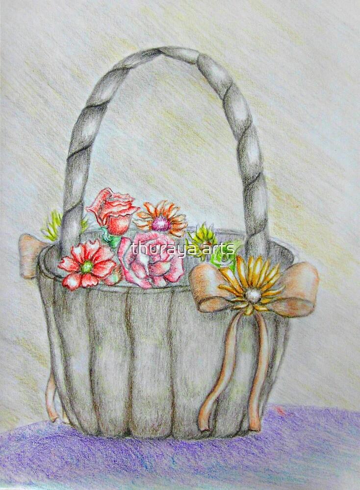 wedding basket of flowers by thuraya arts