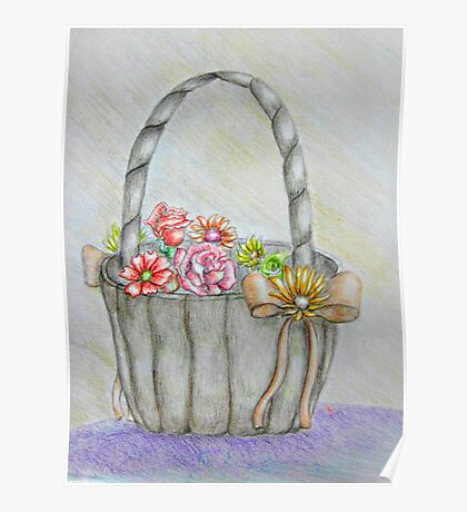 wedding basket of flowers Poster