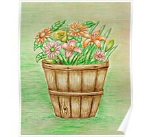 basket flowers  Poster
