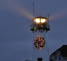 Chatham Lighthouse Christmas by Nancy de Flon