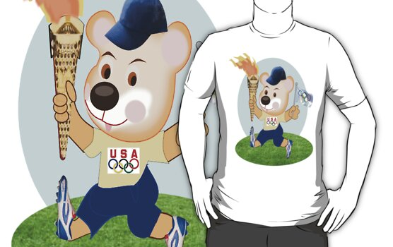 Teddy with Olympic Torch T Shirt (1619 Views) by aldona