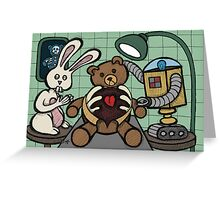 Teddy Bear And Bunny - Bearing The Heart And Paying For It Greeting Card
