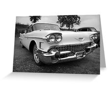 White Caddy in black and white Greeting Card