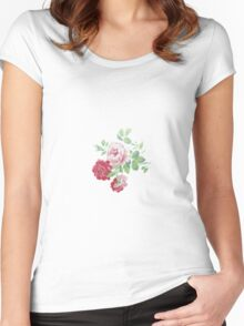 Shabby chic pink red vintage roses pattern  Women's Fitted Scoop T-Shirt