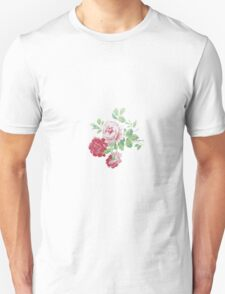 Shabby chic pink red vintage roses pattern  T-Shirt