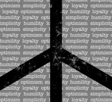 Loyalty Optimism Simplicity Humility Sticker