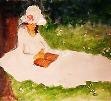 The Reader under the tree, watercolor by Anna  Lewis