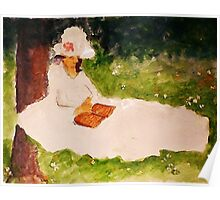 The Reader under the tree, watercolor Poster